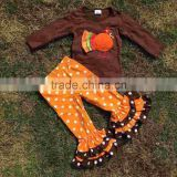 baby girls clothes thanksgiving outfit Fall clothes girls thanksgiving Orange white dots pants sets brown turkey clothing