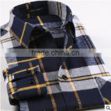 Yellow plaids flannel men's shirt fashionable classical dress Chinese style microfiber long sleeve for men