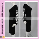 Hollow out back black long sleeve bodycon latest fashion round collar casual dress