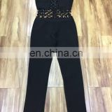 2017 new year Black sleeveless Metal buckle Low-cut Midriff Bandage Jumpsuit sexy tights long pants for women