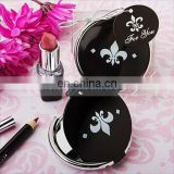 A0207 Fleur de lis round small cosmetic mirror for wedding