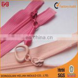 Kinds of nylon 3# zipper polyester with heart shape zipper puller