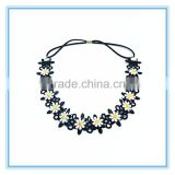 New arrival black embroidery floral headband women elegant flower elastic hair band