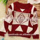2014 New Plaid Design Boys Autumn Sweaters Red Childrens Sweaters