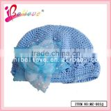 Machine crochet baby winter hat,plain bucket hat wholesale flower hat for girls