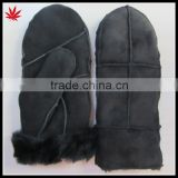 Fashion Lady Leather Mitten Gloves with suede and fake fur lining                                                                         Quality Choice