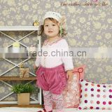 2014 children garment Japanese wholesale high quality cute fashion baby clothing ruffle pants with velour for girls