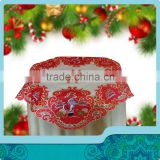 Christmas party table cloth with santon clause embroidery designs on red satin and bamboo fabric