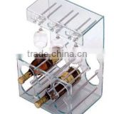 Table Top Clear Acrylic Wine Bottle Rack with Acrylic Wine Glass Stemware Rack
