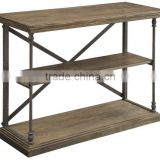 Hot selling Rustic and Bold Reclaimed Wood Console table, Latest design Industrial style Console Table with Iron Legs