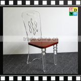 Factory direct Transparent/clear Acrylic/plexiglass/PMMA dining chairs of carved back with wooden seat