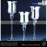 Long-Stem Glass Tealight Candleholders With Electro-Piated