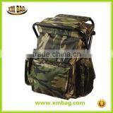 Hot selling camouflage fishing backpack with folding chair, camo pattern fishing tackle bag