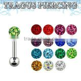Surgical steel tragus piercing, 16g (1.2mm) with 3mm multi crystal ball with resin cover and 3mm plain steel ball