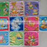 100% polyester microfiber warp knitting knitted thermal transfer printed square wash cloth with cartoon design