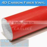 CAR STICKER 1.52x30M 5x98FT Air Bubble Free Bright Red Car Body 4D Carbon Fiber Wrap Sticker Vinyl