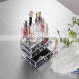 Eco-friendly PS clear acrylic cosmetic & makeup organizer drawer