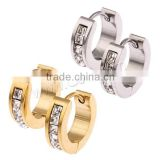 Stainless Steel Huggie Hoop Earring, plated, with cubic zirconia, more colors for choice