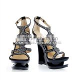 newly designer heels pointed toe wedge sandals in stock crystal big size shoe for woman 2016