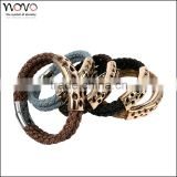 stainless steel with leather bracelet customized stainless steel bio magnetic leather bracelet