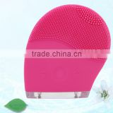 Silicone Skin Mini Ultrasonic Rechargeable Facial Cleansing Brush Beauty Instruments Rose