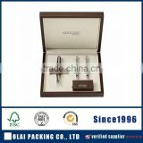 Glossy wooden box pen set with brown colour