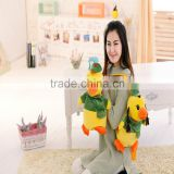 30cm lovely customized yellow stuffed plush duck doll animal backpack with green garment&hat