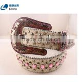 Hot Sale Western Real Horse Hide Cowgirl Pink Cowgirl Bling Women Belt