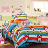 hot sale wholesale plain design 100% cotton lovely baby red fox cartoon printed comfortable red bedding set duvet cover set