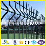 RAL256 Manufacture hanqing galvanized & PVC Welded mesh garden fence panels with plastic fence post caps
