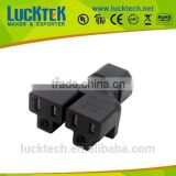 IEC 320 C14 to 2 X Nema 5-15R power adapter, C14 to 2x US female adapter Y Power splitter adapter