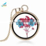 Wholesale cheap circular shape frame flower pendant necklace plastic shot glass necklace