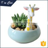 Giraffe shape cute mini ceramic flower vase CC-D145