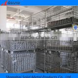hot sale folding stacked wire mesh pallet cage steel mesh crates