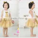 Boutique baby girls birthday outfit gold sequin skirt,tree printing beautiful kids baby dress new,lace trim princess tutu dress