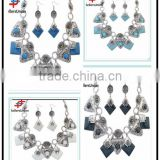 No.1 yiwu exporting commission agent wanted fashion stone chain lacklace and ear rings set jewelry set