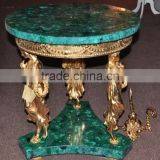 European Style Round Lamp Table, Gilt Bronze Ladies Supported Decorative Small Coffee Table