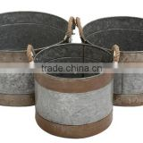 Large Round galvanized planter,Traditional Rustic Set of 3 Metal Galvanized Planter Home and garden with Jute ropeDecor