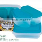 6pcs square.base MIni food bento storage lunch box and plastic meal prep container set
