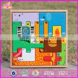 2017 New design animals shape children educational toy wooden best jigsaw puzzles W14A109