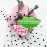 fashion pink rose flower mini top hat church hats