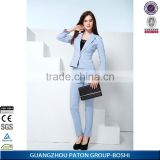 Stylish Coat Pants Suit Light Blue Colors Ladies Office Uniform Design