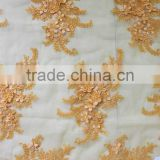 Factory wholesale african gold lace dress beaded sequined fabric
