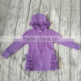 Yawoo autumn long sleeves cotton ruffles design fasteners decoration purple hoodies girls boutique kids clothing sets wholesale