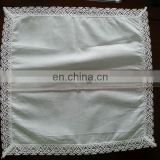 white handkerchief with cotton lace hem for ladies
