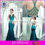2017 Elegant Crystal Beaded Shealth Mermaid Emerald Green Evening gown