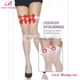 Comfortable and soft sexy nurse white stockings with red bow
