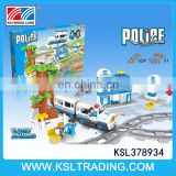 Bricks toys electric police cars track with light and sound