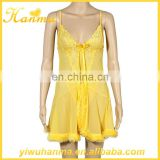 Beauty nighties yellow transparent lingerie unique sexy girls babydoll