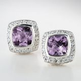 Sterling Silver 7mm Square Lavender Amethyst Petite Earrings